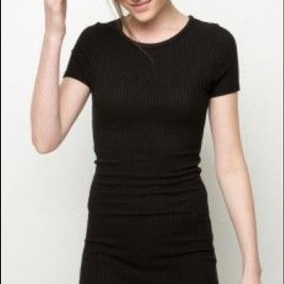 a493d9f0 Brandy Melville Dresses | Ribbed Black T Shirt Bodycon Dress | Poshmark